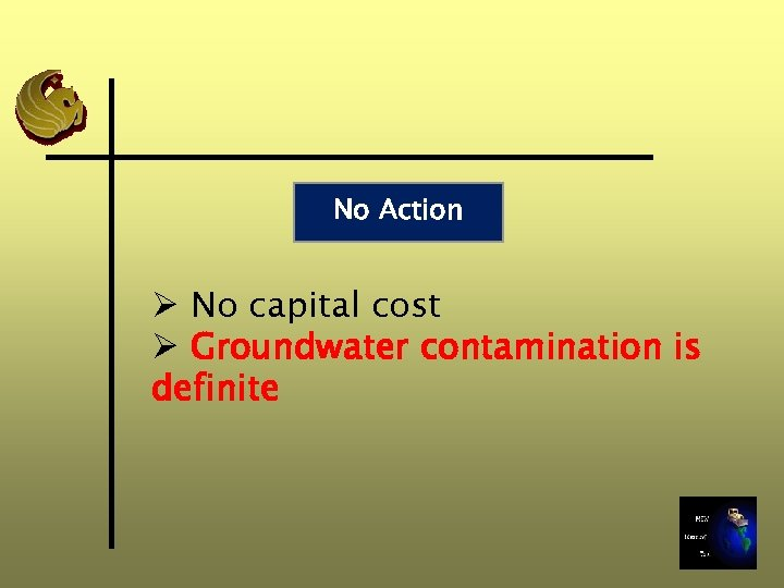 No Action Ø No capital cost Ø Groundwater contamination is definite