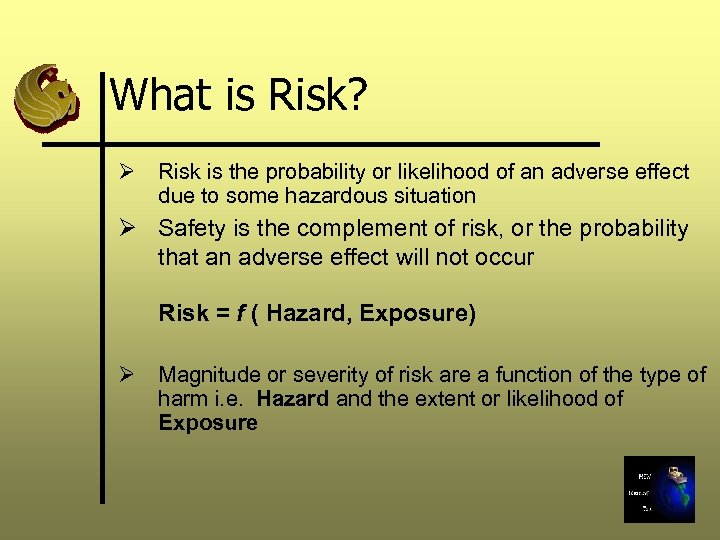 What is Risk? Ø Risk is the probability or likelihood of an adverse effect