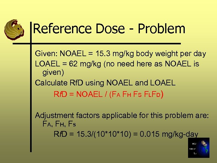 Reference Dose - Problem Given: NOAEL = 15. 3 mg/kg body weight per day