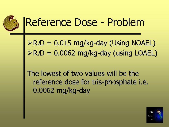 Reference Dose - Problem Ø Rf. D = 0. 015 mg/kg-day (Using NOAEL) Ø