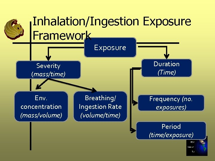 Inhalation/Ingestion Exposure Framework Exposure Duration (Time) Severity (mass/time) Env. concentration (mass/volume) Breathing/ Ingestion Rate