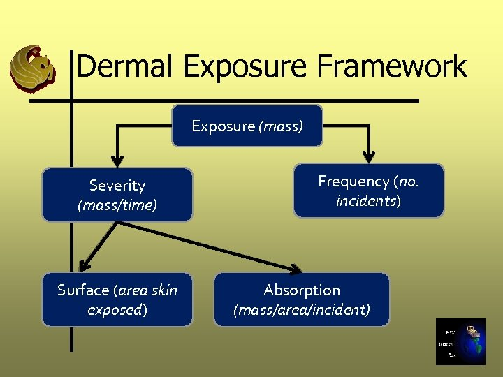 Dermal Exposure Framework Exposure (mass) Severity (mass/time) Surface (area skin exposed) Frequency (no. incidents)