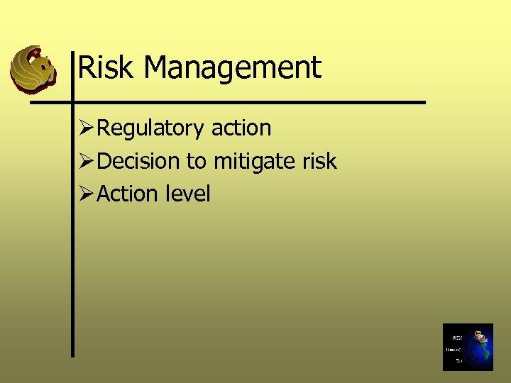 Risk Management Ø Regulatory action Ø Decision to mitigate risk Ø Action level
