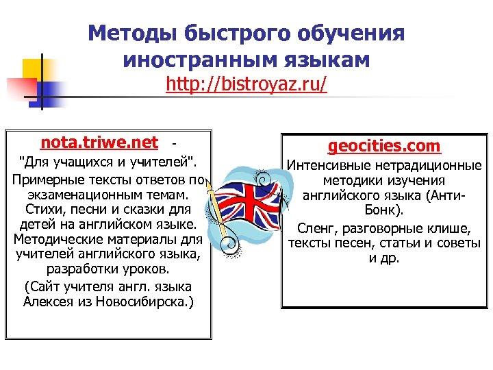Методы быстрого обучения иностранным языкам http: //bistroyaz. ru/ nota. triwe. net