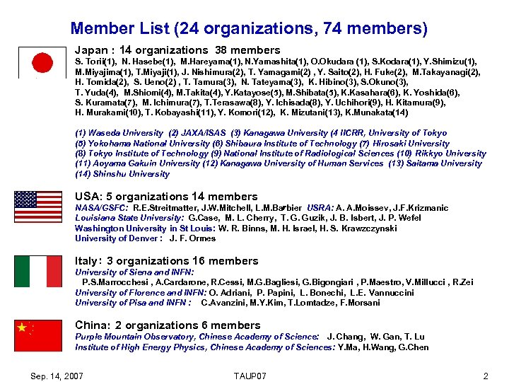 Member List (24 organizations, 74 members) Japan: 14 organizations 38 members S. Torii(1), N.