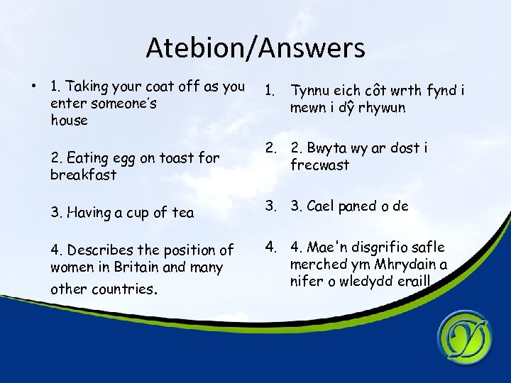 Atebion/Answers • 1. Taking your coat off as you enter someone's house 2. Eating