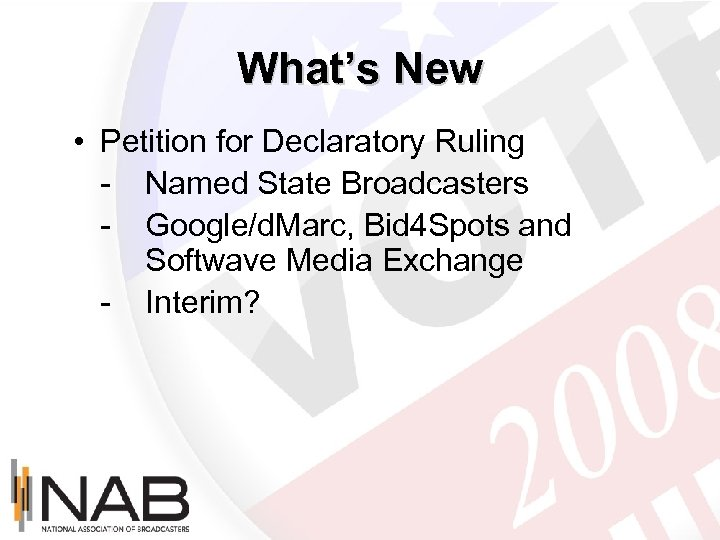 What's New • Petition for Declaratory Ruling - Named State Broadcasters - Google/d. Marc,