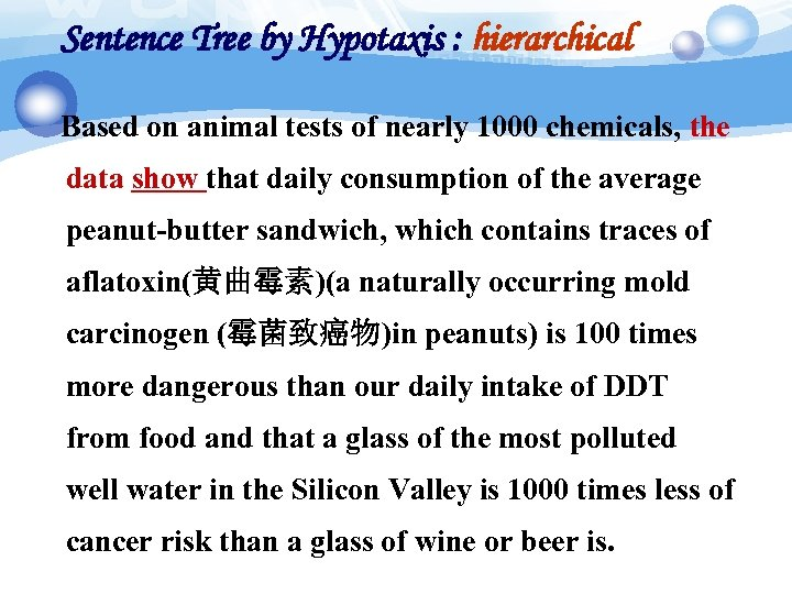 Sentence Tree by Hypotaxis : hierarchical Based on animal tests of nearly 1000 chemicals,