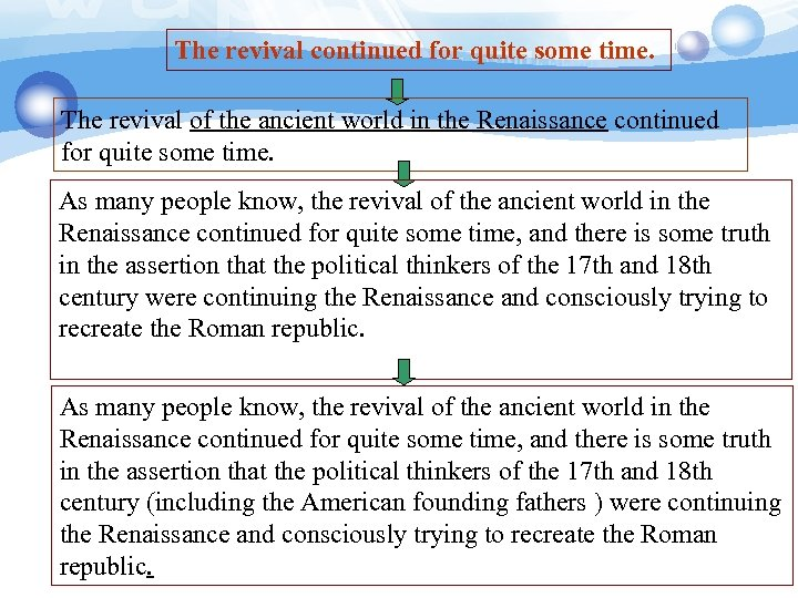 The revival continued for quite some time. The revival of the ancient world in