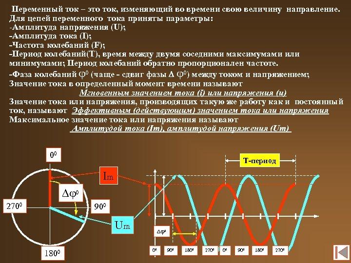 Переменный ток – это ток, изменяющий во времени свою величину направление. Для цепей переменного