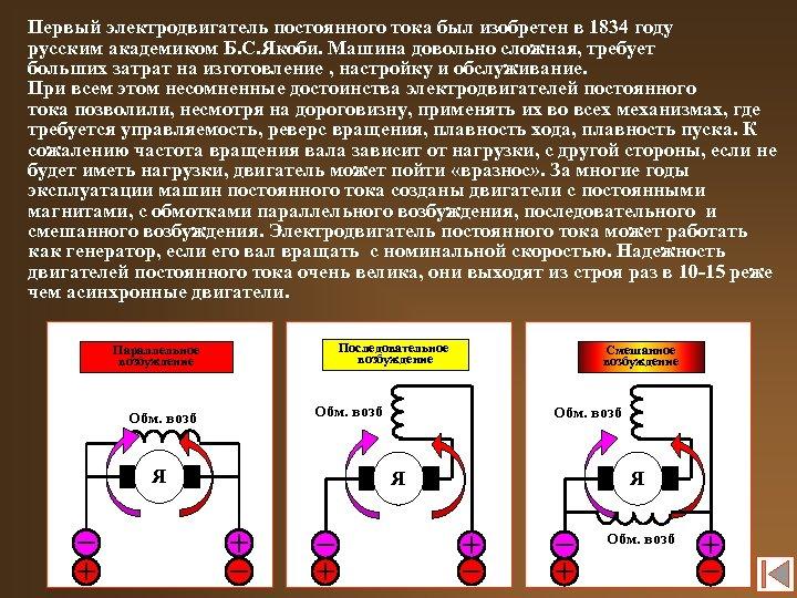Первый электродвигатель постоянного тока был изобретен в 1834 году русским академиком Б. С. Якоби.