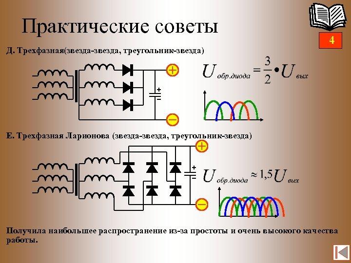 Практические советы Д. Трехфазная(звезда-звезда, треугольник-звезда) 4 Е. Трехфазная Ларионова (звезда-звезда, треугольник-звезда) Получила наибольшее распространение