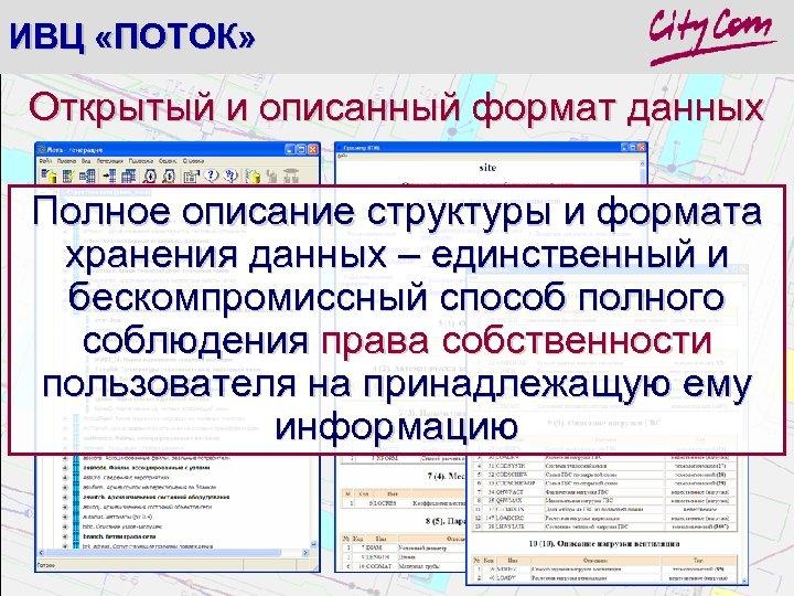 ИВЦ «ПОТОК» Открытый и описанный формат данных Полное описание структуры и формата хранения данных