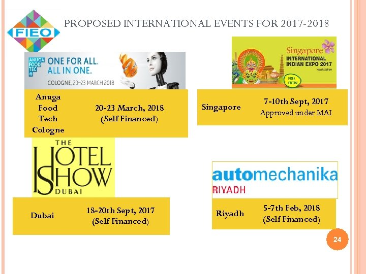 PROPOSED INTERNATIONAL EVENTS FOR 2017 -2018 Anuga Food Tech Cologne Dubai 20 -23 March,
