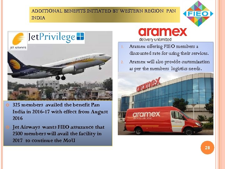 ADDITIONAL BENEFITS INITIATED BY WESTERN REGION PAN INDIA 1. 2. Aramex will also provide
