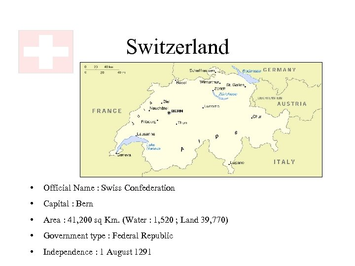 Switzerland • Official Name : Swiss Confederation • Capital : Bern • Area :