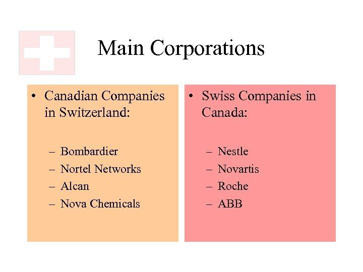 Main Corporations • Canadian Companies in Switzerland: – – Bombardier Nortel Networks Alcan Nova