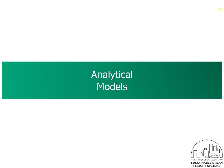 15 Analytical Models