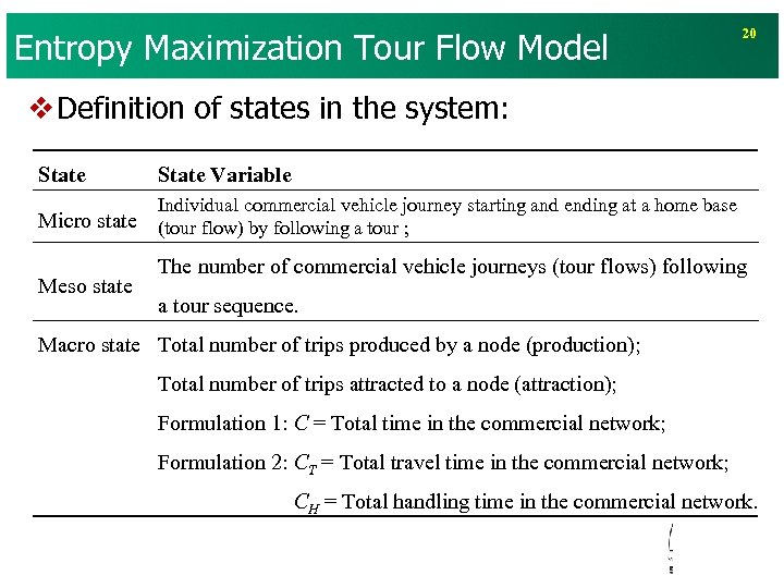 Entropy Maximization Tour Flow Model 20 v Definition of states in the system: State