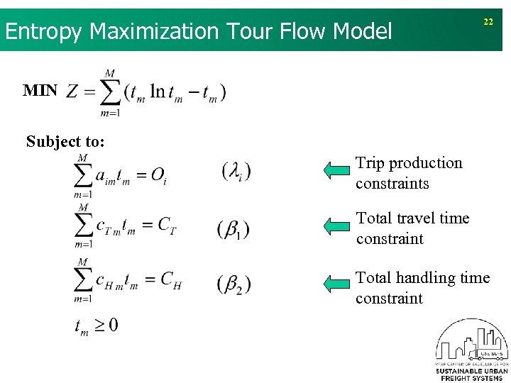 v The equivalent model of formulation 2: Entropy Maximization Tour Flow Model 22 MIN