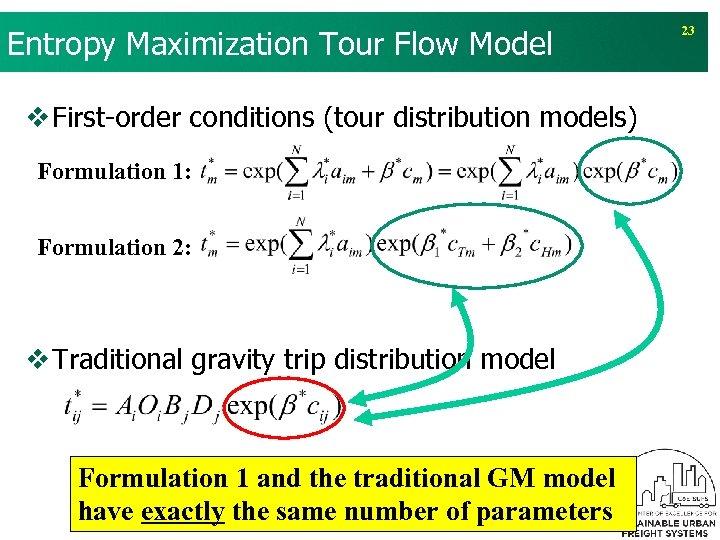 Entropy Maximization Tour Flow Model v First-order conditions (tour distribution models) Formulation 1: Formulation