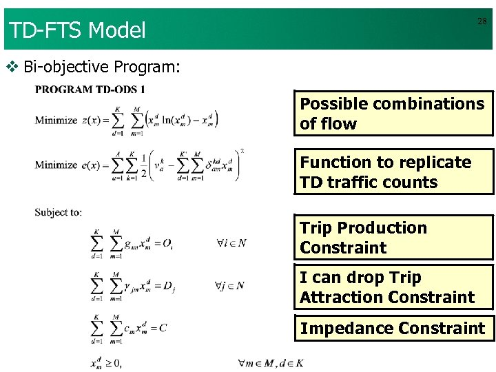 TD-FTS Model 28 v Bi-objective Program: Possible combinations of flow Function to replicate TD