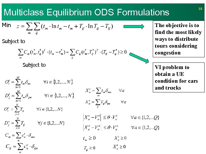 Multiclass Equilibrium ODS Formulations Min Subject to 38 The objective is to find the