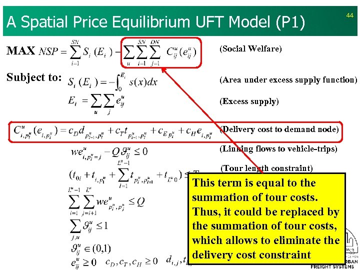 A Spatial Price Equilibrium UFT Model (P 1) 44 MAX (Social Welfare) Subject to: