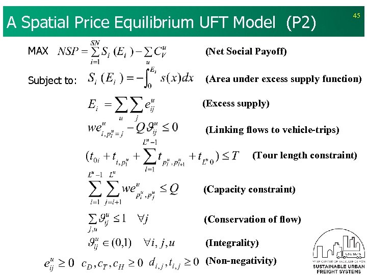 A Spatial Price Equilibrium UFT Model (P 2) 45 MAX (Net Social Payoff) Subject