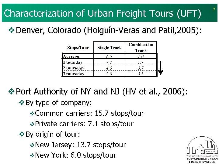 Characterization of Urban Freight Tours (UFT) v Denver, Colorado (Holguín-Veras and Patil, 2005): v