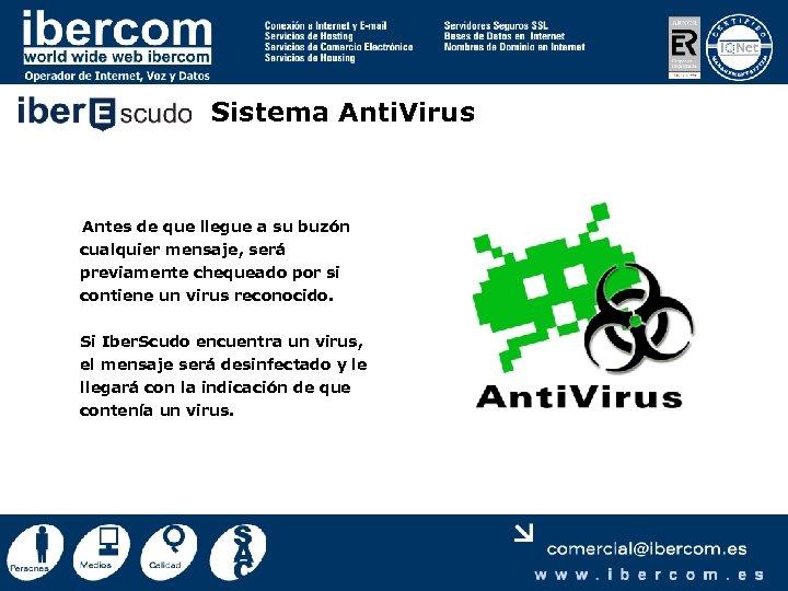 Sistema Anti. Virus Antes de que llegue a su buzón cualquier mensaje, será previamente