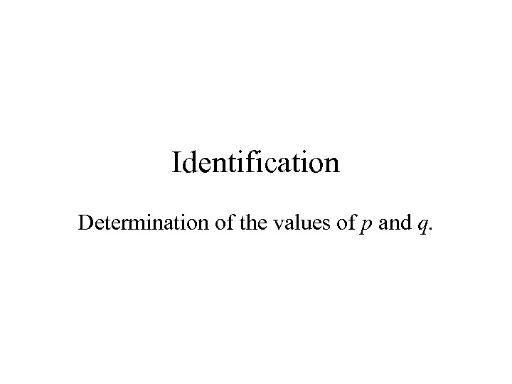 Identification Determination of the values of p and q.