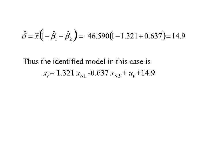 Thus the identified model in this case is xt = 1. 321 xt-1 -0.