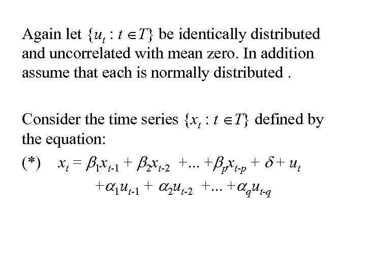 Again let {ut : t ÎT} be identically distributed and uncorrelated with mean zero.