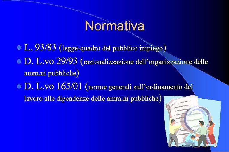 Normativa l L. 93/83 (legge-quadro del pubblico impiego) l D. L. vo 29/93 (razionalizzazione