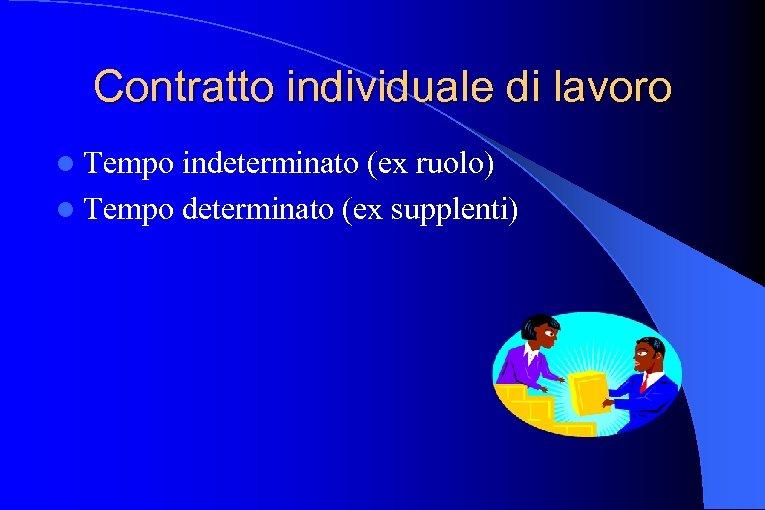 Contratto individuale di lavoro l Tempo indeterminato (ex ruolo) l Tempo determinato (ex supplenti)