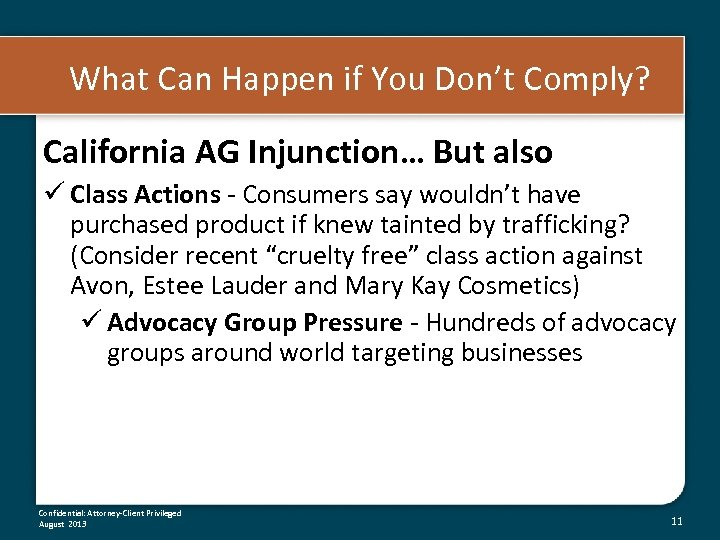 What Can Happen if You Don't Comply? California AG Injunction… But also ü Class