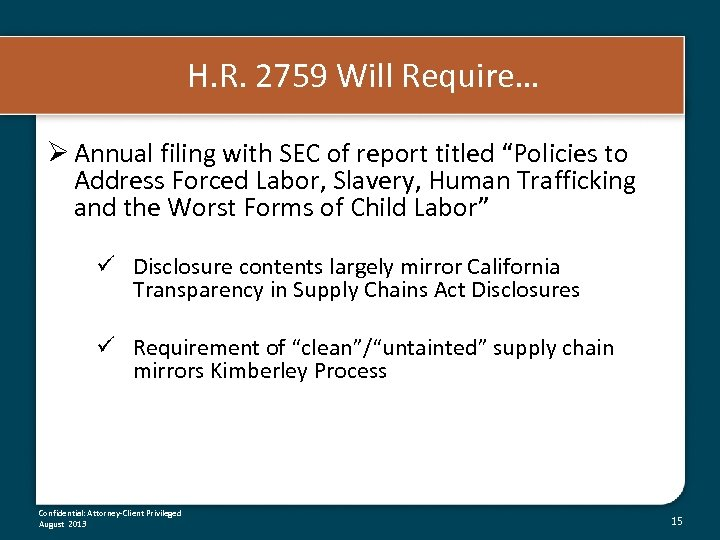 "H. R. 2759 Will Require… Ø Annual filing with SEC of report titled ""Policies"
