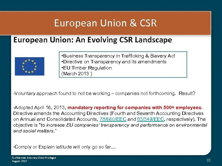 European Union & CSR European Union: An Evolving CSR Landscape • Business Transparency in
