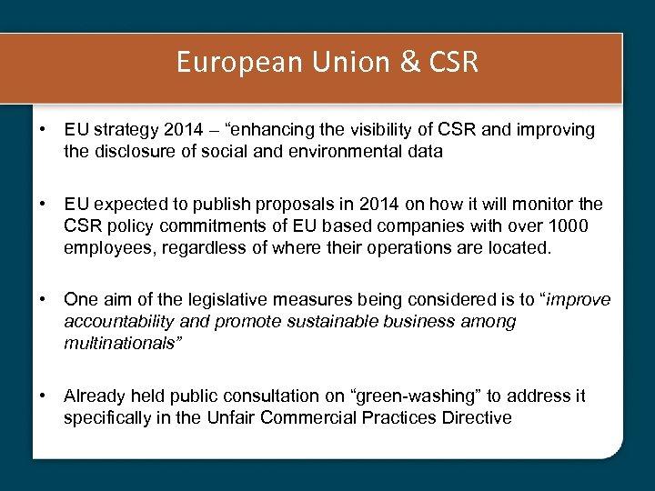 "European Union & CSR • EU strategy 2014 – ""enhancing the visibility of CSR"