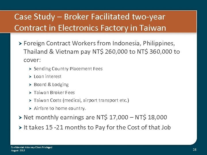 Case Study – Broker Facilitated two-year Contract in Electronics Factory in Taiwan Foreign Contract