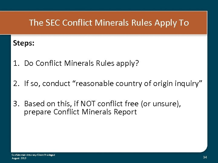 The SEC Conflict Minerals Rules Apply To Steps: 1. Do Conflict Minerals Rules apply?