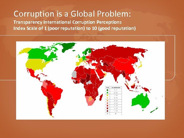 Corruption is a Global Problem: Transparency International Corruption Perceptions Index Scale of 1 (poor