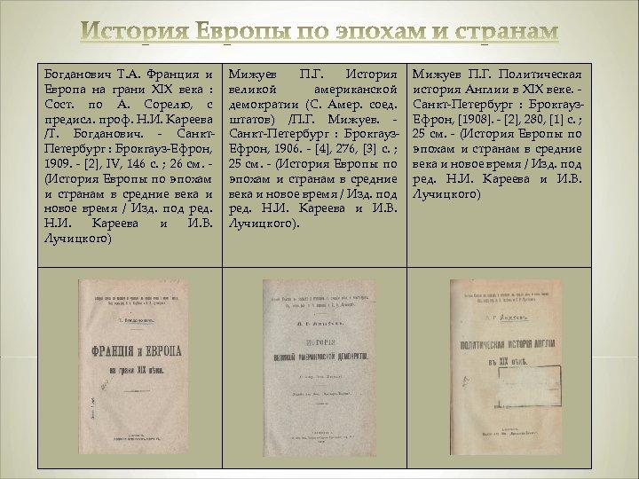 Богданович Т. А. Франция и Европа на грани XIX века : Сост. по А.