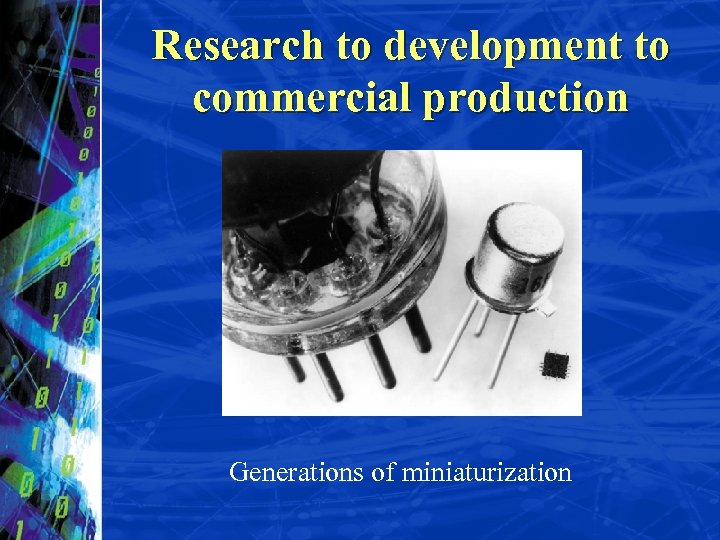 Research to development to commercial production Generations of miniaturization