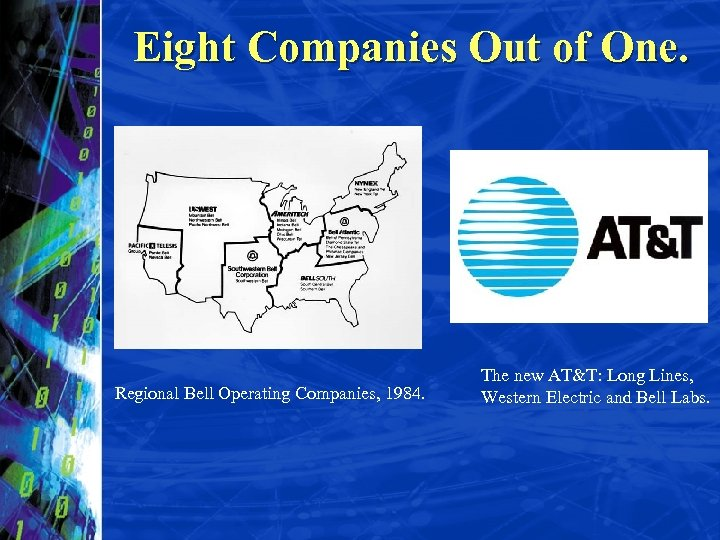 Eight Companies Out of One. Regional Bell Operating Companies, 1984. The new AT&T: Long