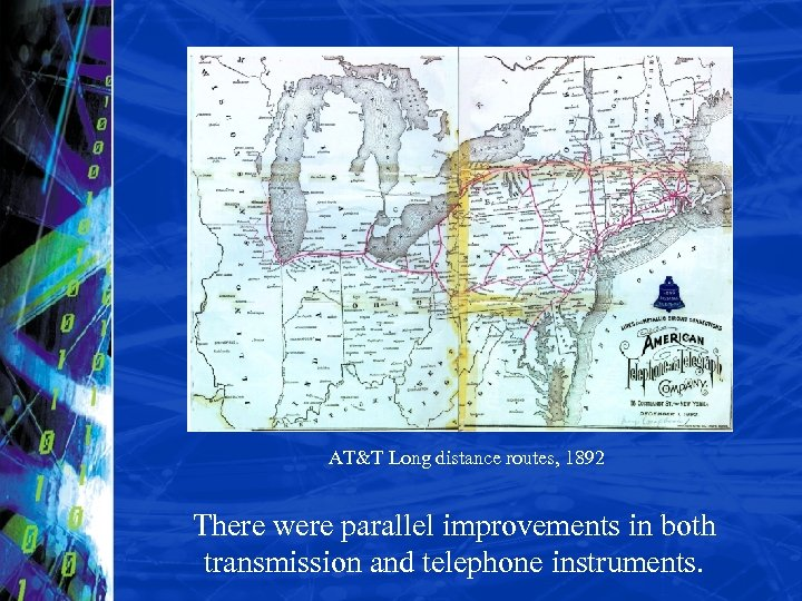 AT&T Long distance routes, 1892 There were parallel improvements in both transmission and telephone
