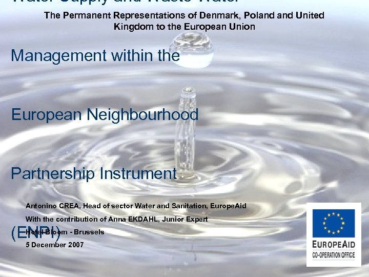 Water Supply and Waste Water The Permanent Representations of Denmark, Poland United Kingdom to