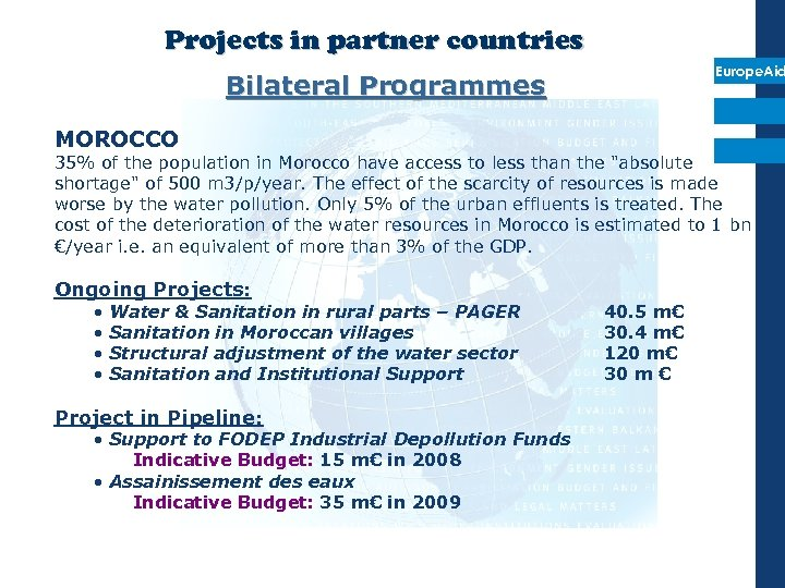 Projects in partner countries Europe. Aid Bilateral Programmes MOROCCO 35% of the population in