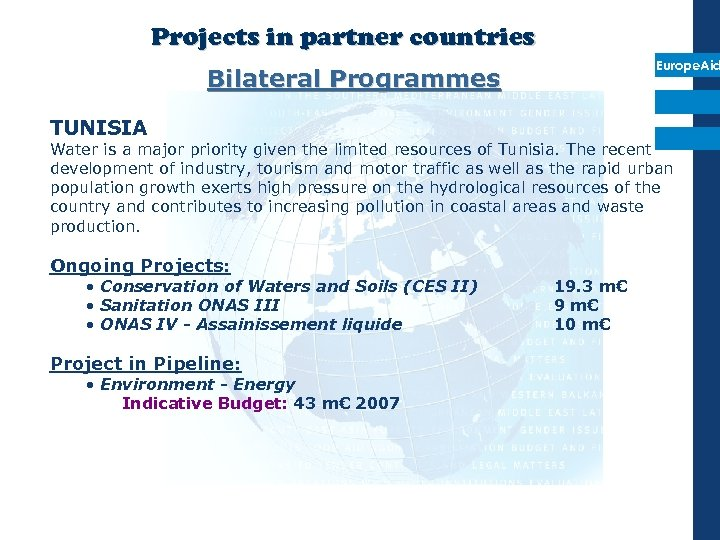 Projects in partner countries Europe. Aid Bilateral Programmes TUNISIA Water is a major priority